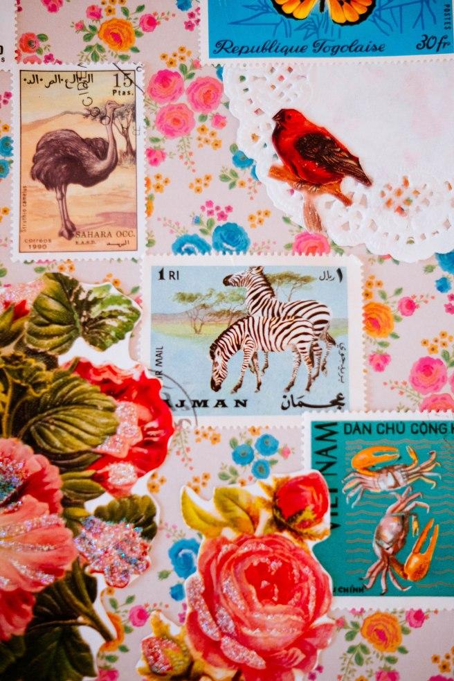 Oude postzegels art journal