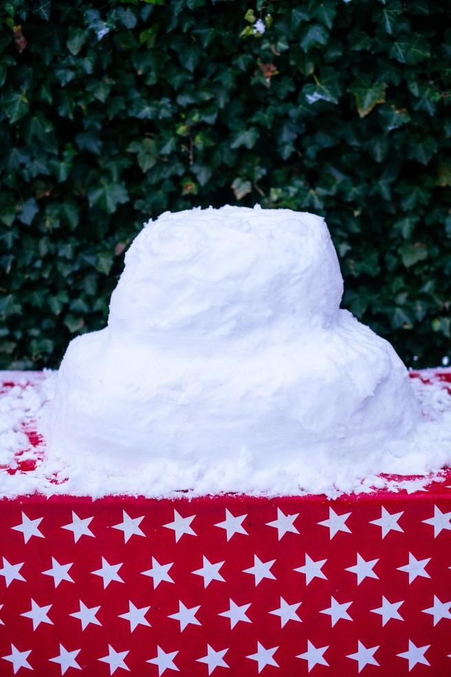 Lagen maken sneeuw taart