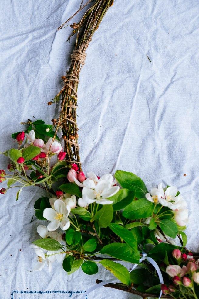 bloemen op krans